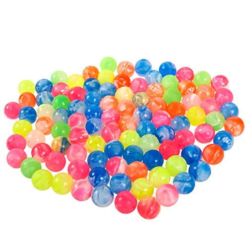 Juvale Bouncy Balls Party Favors - 100-Count Super Bouncy Balls Bulk, Small Mini Colorful High Bouncing Balls Party Bag Filler, Assorted Neon Colored Marble Designs, 0.73 Inches in Diameter -