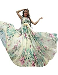 e2f919f5c6 Women s Chiffon Floral Holiday Beach Bridesmaid Maxi Dress Sundress