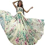 Medeshe Women's Chiffon Floral Holiday Beach Bridesmaid Maxi Dress Sundress (US Size 6-14; Length-125cm, Watery Green Floral)