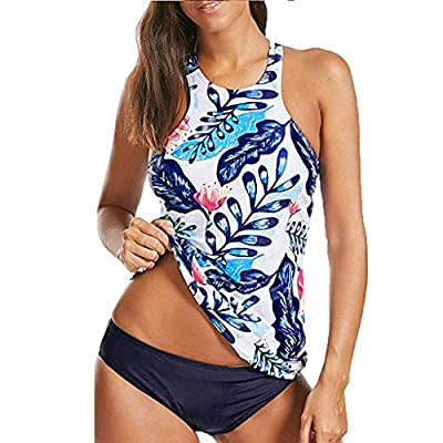 Women Floral Tankini Tummy Control Swimwear Tank Top Retro Printed Swimsuit with Boyshorts Two Piece Bathing Suit