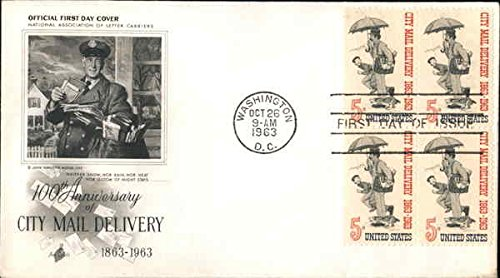 Cover First Day Collectible (100th Anniversary of City Mail Delivery 1863-1963 Block of Stamps Original First Day Cover)