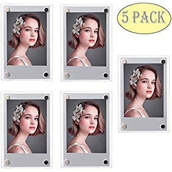 SAIKA Acrylic Fridge Magnetic Double Sided Photo Frame for Fujifilm Instax 9 8 8s 25 26 50s 70 7s 90 Film/Polaroid Instant Film, Clear, Pack of 5