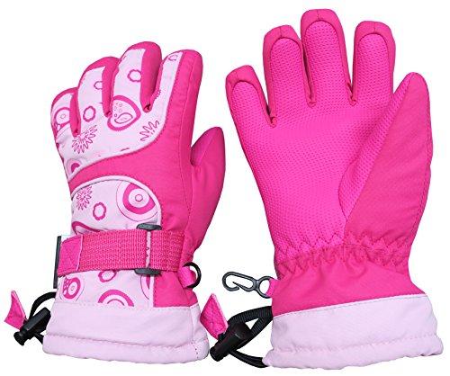 Price comparison product image N'Ice Caps Kids Scroll Print Thinsulate Waterproof Snowboarder Winter Gloves (7-8yrs, Fuchsia Print)