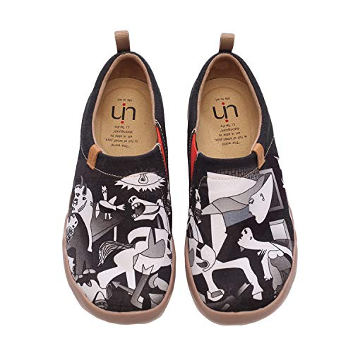 UIN Women Men's Wandering Painted Canvas Slip-On Shoes Casual Travel Shoes Loafers Walking Shoes(46) ()