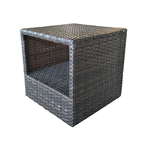 Caymus Indoor Outdoor Wicker Ratten Square Side Table with Storage (Wicker White Console With Baskets Table)
