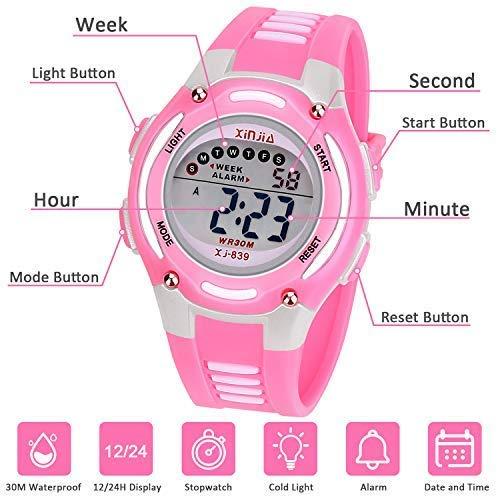 Reloj Digital para Niña Niño,Chicos Chicas Impermeabl Deportes al Aire Libre LED Multifuncionales Relojes