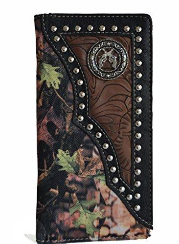 men black brown camo mossy oak gun outdoor secretary bifold slim tall long wallet