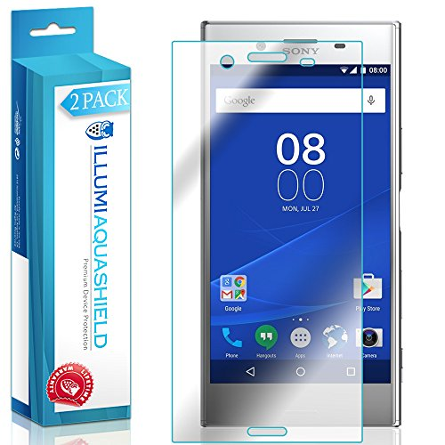 ILLUMI AquaShield Screen Protector Compatible with Sony Xperia XZ Premium (2-Pack) No-Bubble High Definition Clear Flexible TPU Film (Sony Xperia Z Screen Protector)