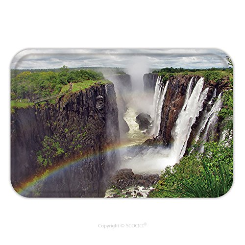 Zimbabwe Costume (Flannel Microfiber Non-slip Rubber Backing Soft Absorbent Doormat Mat Rug Carpet Rainbow Over Victoria Falls On Zambezi River Border Of Zambia And Zimbabwe 148399298 for)