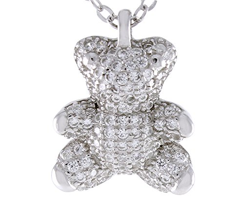 AFFY Teddy Bear Pendant Necklace in 14k White Gold Over Sterling Silver Round Cut White Cubic Zirconia