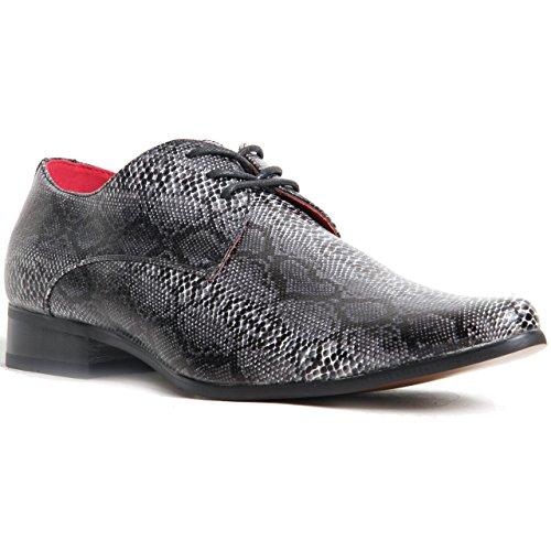 Herren Schnürschuhe, Schlangenleder-Optik, Spitz Zulaufender Zehenbereich, Schuhe mit echtleder-Futter Schwarz
