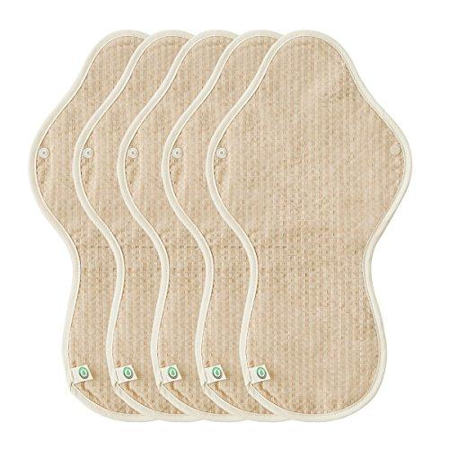 THINKECO [5 Pads] Organic-Hanji Reusable Menstrual Cotton Pads, Sanitary Napkins (XL)