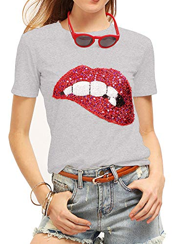 Women's Sequined Sparkely Glittery Lip Print T Shirt Cute Embroidery Teen Girls Tops (L,Grey)