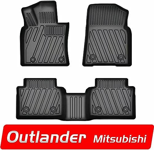 LAONNVIR Floor Mats Fit for Mitsubishi Outlander 2011-2021 Automotive Interior Accessories, All Weather Car Mats Heavy Duty Rubber Custom Fit Floor Mat Liners Black TPE