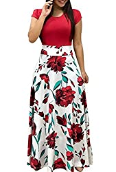 Uinolo Womens O Neck Short Sleeve Dresses Floral Printed Patchwork Prom Swing Long Formal Maxi Plus Size Dress Red S