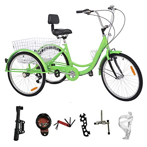 H&ZT Adult Tricycle Trike 7 Speed 3 Wheel Bike with Large Basket and Maintenance Tools, 26 Inch Wheel Size Bike Trike, Men's Women's Cruiser Bike (26 Inch Apple, 7 Speed)