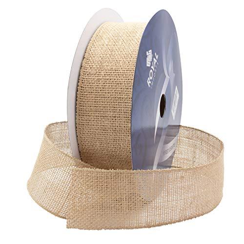 Royal Imports Natural Burlap Jute Wired Fabric Ribbon 2.5