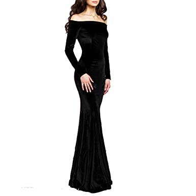 Ttybridal Off The Shoulder Velvet Evening Gown Long Prom Party