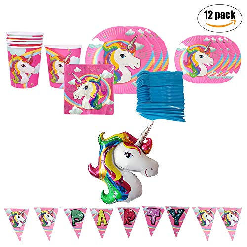 Unicorn Party Supplies Pack, Pink Birthday Party Set For
