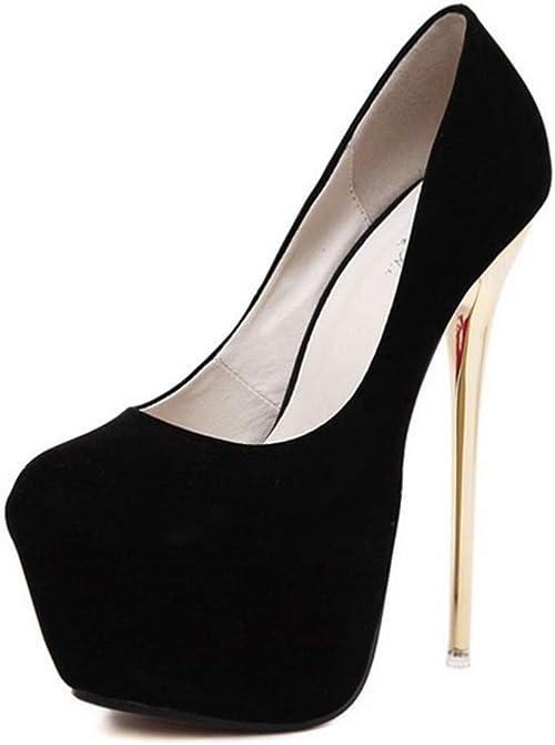 Scarpe da Donna con Tacco Alto e Tacco Alto da 16 Cm con Plateau Nero Elegante Abito da Sera Prom Tacchi a Spillo da Donna