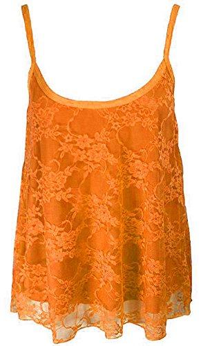 Top donna in a pizzo in Strappy Vest modello bassa motivo Orange raso con canottiera Completo Neon floreale da 51g6wO