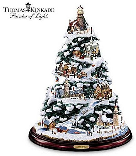 Retired BRADFORD EXCHANGE THOMAS KINKADE *CHRISTMAS BY THE HARBOR* TREE