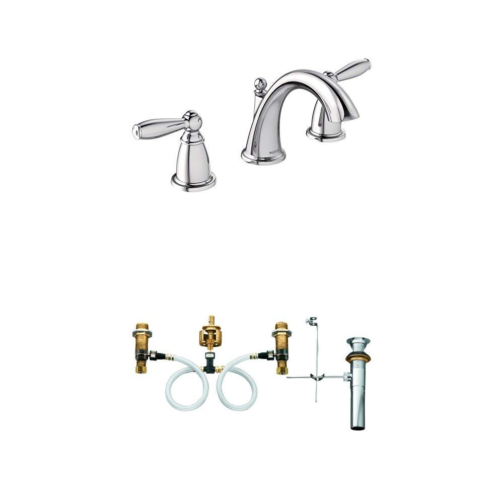 Moen T6620 Brantford Two-Handle Low-Arc Widespread Bathroom Faucet with Valve, Chrome
