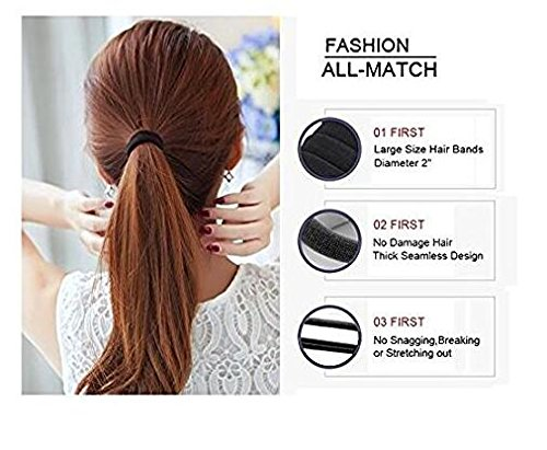 100PCS Thick Seamless Cotton Hair Bands Simply Hair Ties Ponytail Holders Headband Scrunchies Hair Accessories No Crease Damage for Thick Hair (Black) ericotry