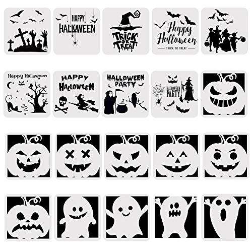Halloween Bats Stencils (URATOT 20 Pieces Halloween Plastic Painting Stencils Drawing Templates Theme Painting Template with Pumpkin Bat Skeleton Owl Hat for Halloween DIY)