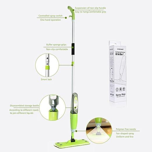 2 en 1 Spray Mopa, 360 grados libre transformar Spray Mop más seguro que el Vapor para madera, laminado, madera, mojado y seco, vinilo y azulejos, ...