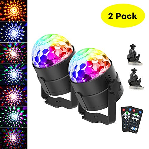 Disco Ball Light,CrazyFire Portable DJ Lights 6 Colors Sound Activated Led Party Lights with Remote Control,Led Stage Lights for Bar Club Party Holiday Wedding(2 Pack with Suction Cup)]()
