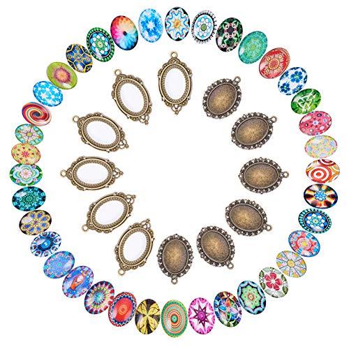 - PH PandaHall DIY Jewelry Pendant Making, 50 PCS Mosaic Printed Glass Oval Cabochons and 50 PCS Tibetan Style Alloy Blank Pendant Frame Trays