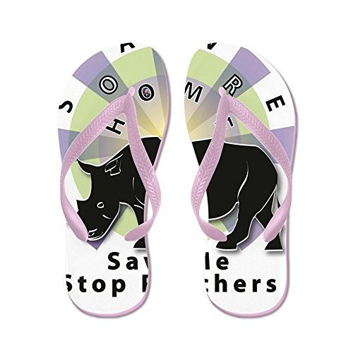 CafePress Save Our Home: Rhino TW - Flip Flops, Funny Thong Sandals, Beach Sandals Pink