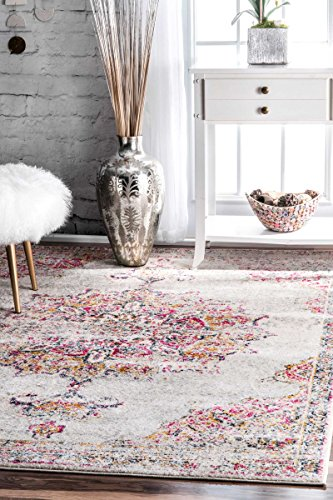 Traditional Vintage Sunny Wildflower Medallion Pink Area Rugs, 8 Feet by 10 Feet (8' x 10') (Rug Wildflowers)