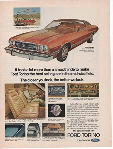 Vintage Magazine Print ad: 1973 Ford Torino, 2 door coupe, Luxury Decor Package,