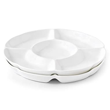 Chip & Dip Serving Set Porcelain Divided Serving Platter/Tray Perfect for Snack 12 inch White Dish Set of 2