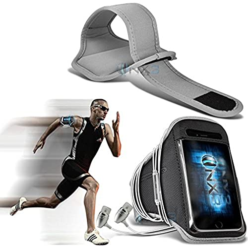 ONX3 Samsung Galaxy S8 Case (Grey) Case Cover Adjustable Fitness Running Jogging Cycling Gym Armband Holder, Including In Ear Sales