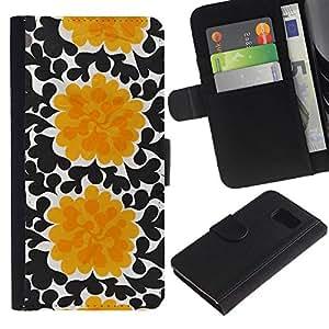 All Phone Most Case / Oferta Especial Cáscara Funda de cuero Monedero Cubierta de proteccion Caso / Wallet Case for Samsung Galaxy S6 // Flowers Black Wallpaper Art