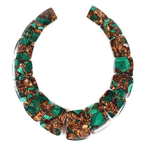 Gemstone Graduated Necklace (Sea Sediment Imperial Jasper Gemstone Loose Beads Graduated Set 15 Beads (Malachite & Copper))