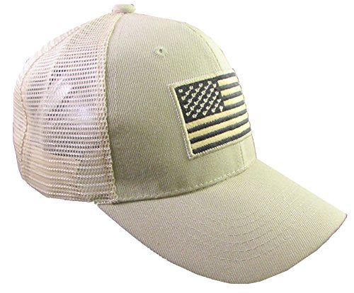 - US American Flag Patch Tactical Style Mesh Trucker Baseball Cap Hat (One Size, Khaki)