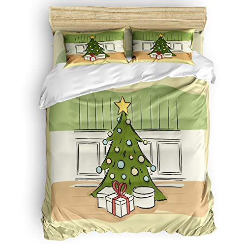 BABE MAPS 4 Piece Luxury Duvet Cover Bedding Sets Full Hand-Print Christmas Tree Breathable Bedroom Quilt Cover with Zipper Closure and 2 Pillow -