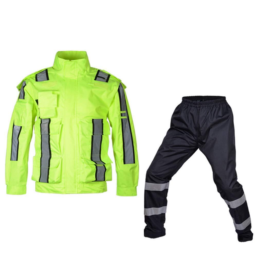 AUMING Sicherheitsweste für Outdoor-Arbeiten Reflektierender Regenmantel Straßenverkehrssicherheit Warnung Regenmantel im Freien Sicherheit und Sichtbarkeit für Laufen, Joggen (Größe   XXL)