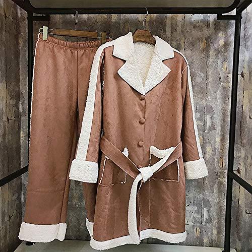 Traje V1 Co Gruesa Cuello Camisón Pijama Clothing Invierno Color E Cómodo Túnica Pijama Invierno Cordero Piel Coffee De gEgp0xqr
