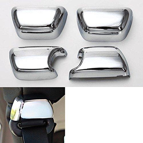 Highitem 4Pcs/set ABS Car Seat Safety Belt Buckle Cover Trim Cap Set Decoration Car Styling Covers Fits For Jeep Wrangler 2008-2017 (Silver Chrome)