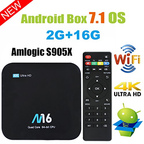 Android TV Box - VIDEN Newest Android 7.1 Smart TV Boxsets, Amlogic S905X Quad-Core, 2GB RAM & 16GB ROM, 4K @60fps Ultra HD, Support Video Encoder for H.265, 2.4GHz WIFI Bluetooth 4.0 by VIDEN