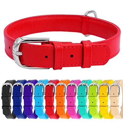 (WAUDOG Soft Leather Dog Collar - Dog Collars for Small Medium Large Dogs Puppy - Red Blue Pink Purple Green Black - Handmade with Real Genuine Leather - Glamour Plus (Medium 15