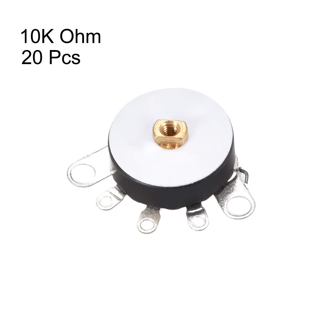 sourcing map Wheel Potentiometer With Switch 10K Ohm Variable Resistors Single Turn Rotary Carbon Film Taper RV12MM 5pcs