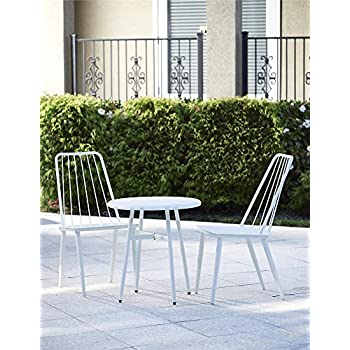 Cosco Outdoor 3 Piece Cottage Bistro Steel Patio Furniture Set, White