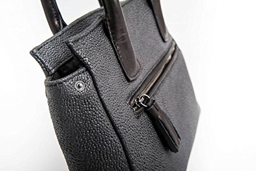 Milano - Passione Bags - Borsa da donna in vera pelle effetto razza color nero a mano o spalla. Made in Italy