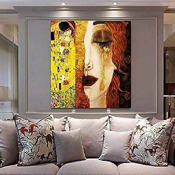Faicai Art Gustav Klimt Golden Tears and Kiss Paintings Gold Wall Art  Banksy Graffiti Canvas Prints Pop Art Home Decor Printed Pictures Famous  Artwork ...